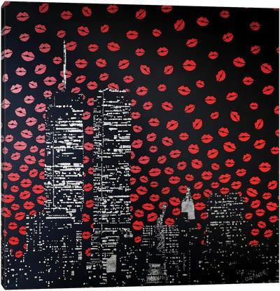Love Kisses Over New York Canvas Art Print