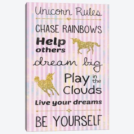 Unicorn Rules Canvas Print #LGB31} by Lauren Gibbons Canvas Art