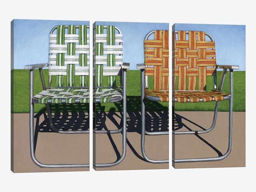 Lawn Chairs by Leah Giberson 3-piece Canvas Art