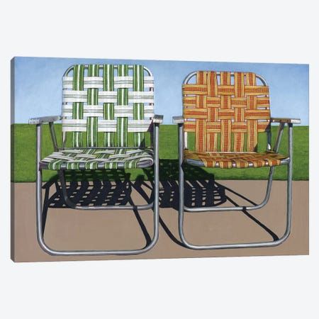 Lawn Chairs 3-Piece Canvas #LGI17} by Leah Giberson Canvas Art