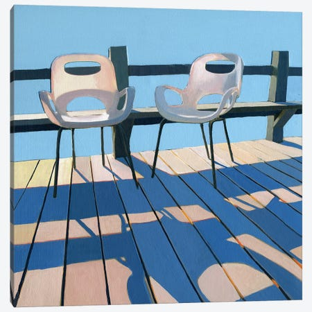 Morning Chairs Canvas Print #LGI19} by Leah Giberson Canvas Art Print