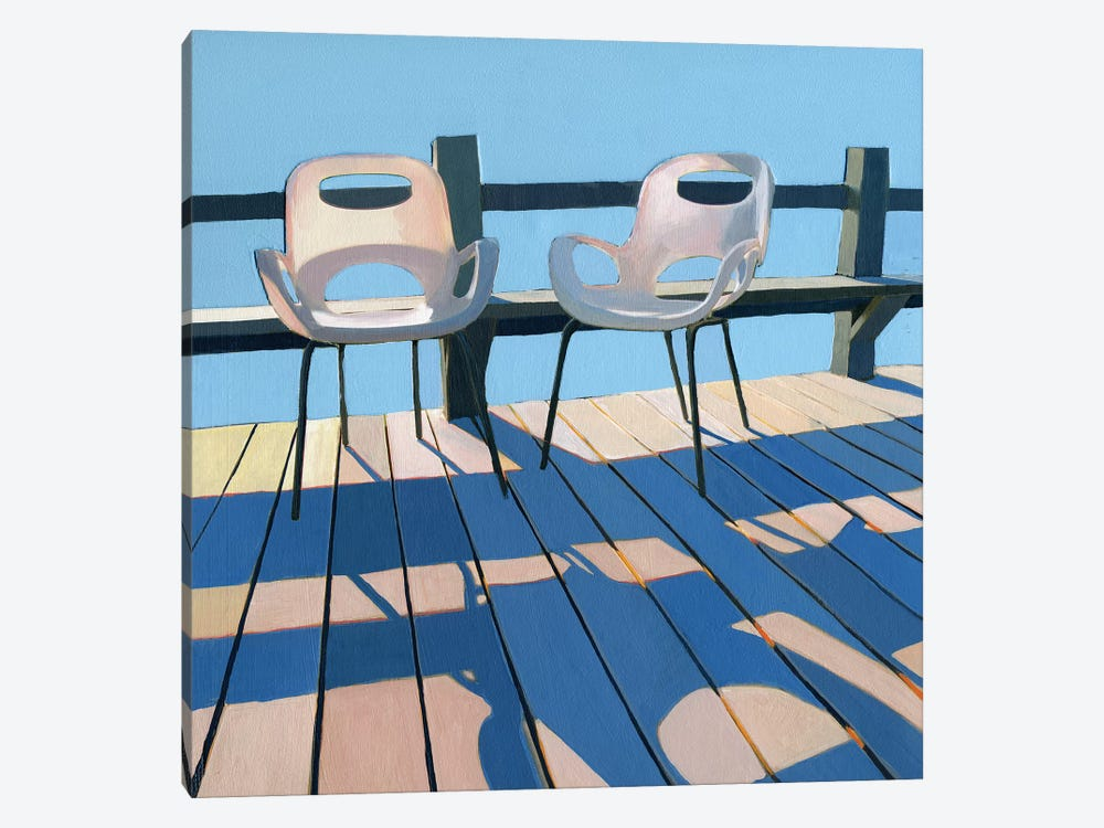 Morning Chairs by Leah Giberson 1-piece Canvas Wall Art