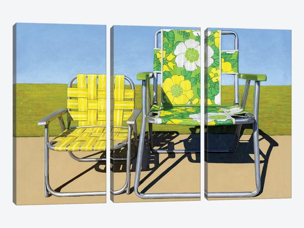 Stripes Petals by Leah Giberson 3-piece Canvas Art Print