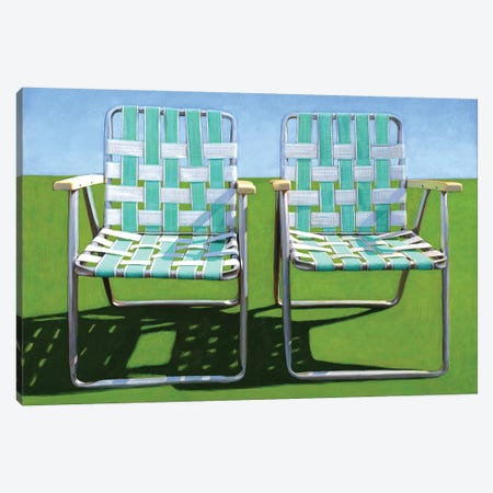 Two In Turquoise Canvas Print #LGI27} by Leah Giberson Art Print
