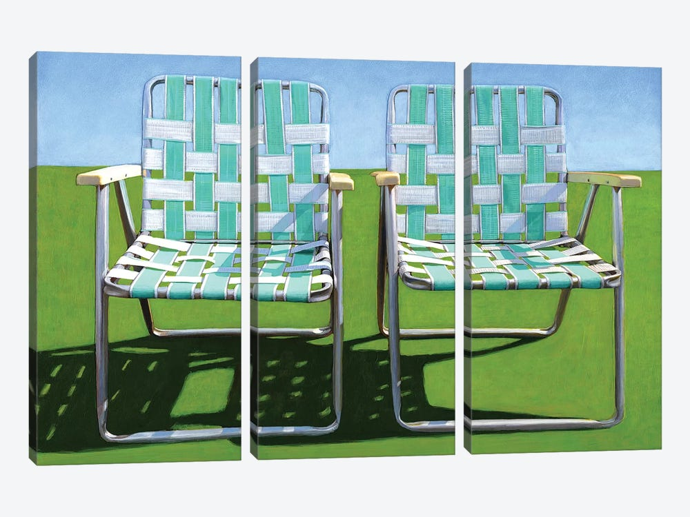 Two In Turquoise by Leah Giberson 3-piece Canvas Print