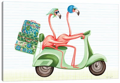 Flamingos Vespa Canvas Art Print