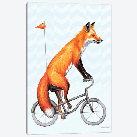 Fox On Bike Canvas Print #LGL12} by Amélie Legault Canvas Wall Art