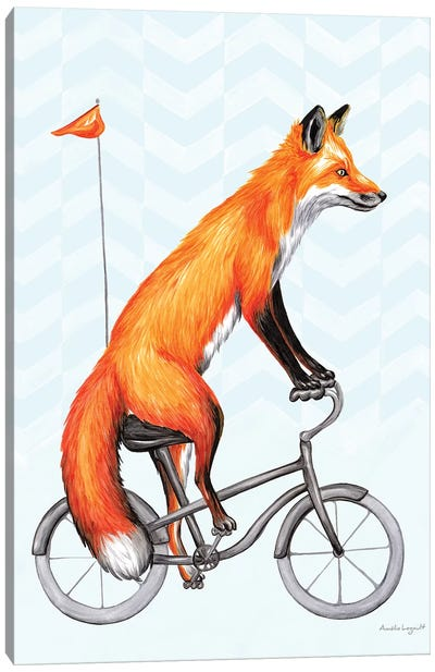 Fox On Bike Canvas Art Print
