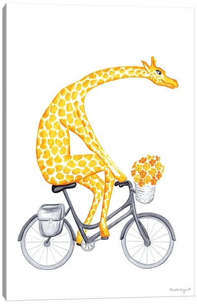 Giraffe On Bike Canvas Art Print
