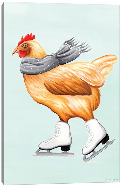 Hen Ice Skate Canvas Art Print