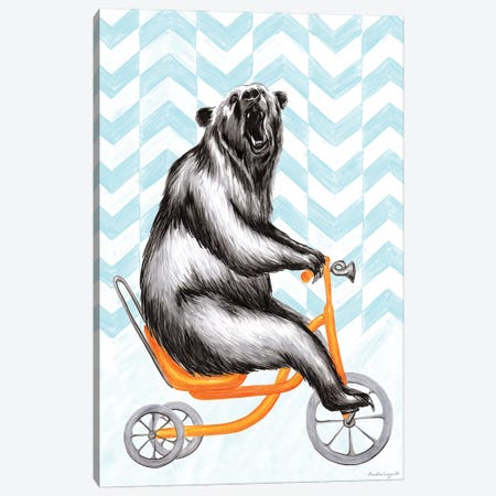 Bear On Bike Canvas Print #LGL1} by Amélie Legault Canvas Wall Art