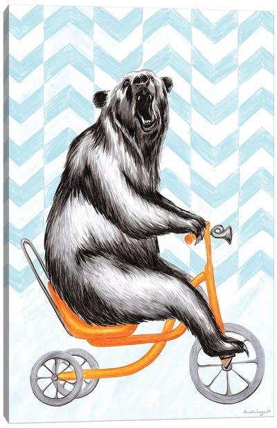 Bear On Bike Canvas Art Print