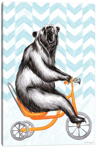 Bear On Bike Canvas Art Print
