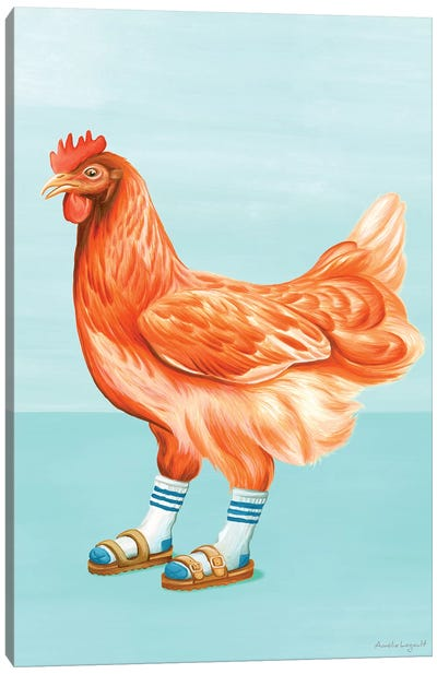 Hen Sandals Canvas Art Print