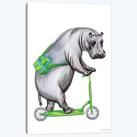 Hippo On Bike Canvas Print #LGL22} by Amélie Legault Canvas Art Print