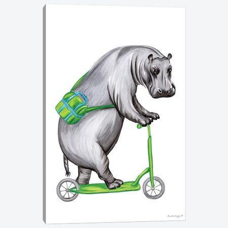 Hippo On Bike Canvas Print #LGL22} by Amélie Legault Canvas Art Print