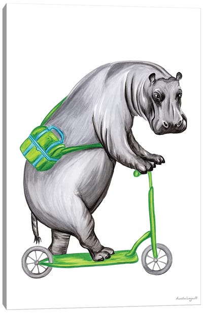 Hippo On Bike Canvas Art Print