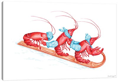 Lobsters Toboggan Canvas Art Print