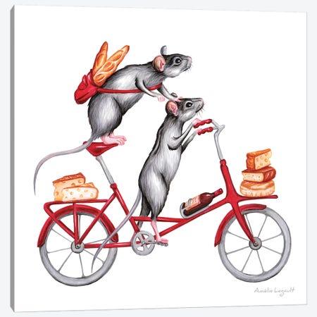 Mice On Bike Canvas Print #LGL25} by Amélie Legault Canvas Art