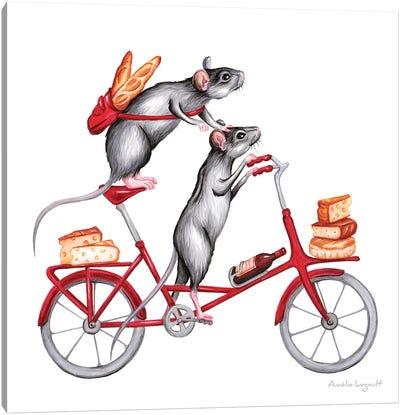 Mice On Bike Canvas Art Print