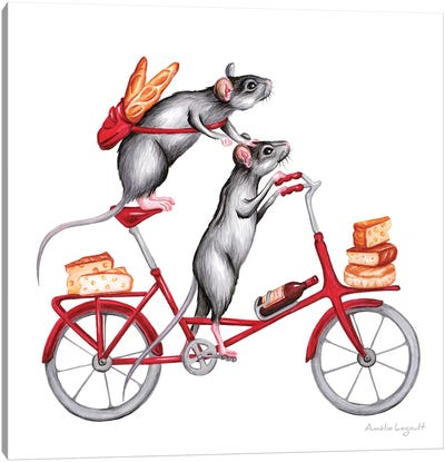 Mice On Bike Canvas Art Print