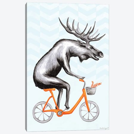 Moose On Bike Canvas Print #LGL26} by Amélie Legault Canvas Art