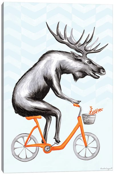 Moose On Bike Canvas Art Print