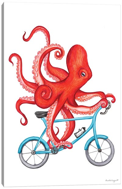 Octopus On Bike Canvas Art Print