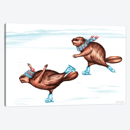Beaver Ice Skate Canvas Print #LGL2} by Amélie Legault Canvas Art