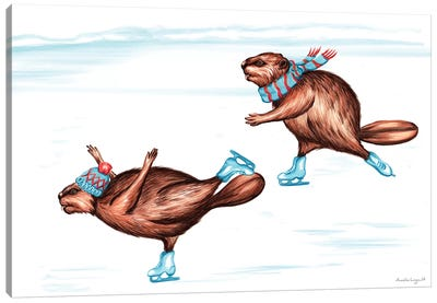 Beaver Ice Skate Canvas Art Print