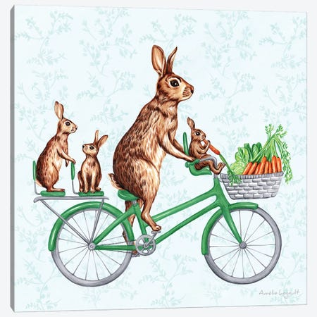 Rabbits On Bike Canvas Print #LGL31} by Amélie Legault Canvas Wall Art