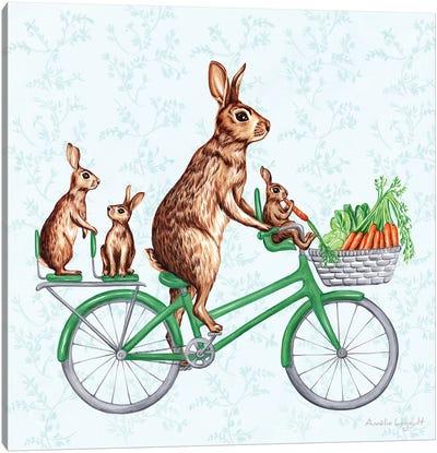 Rabbits On Bike Canvas Art Print