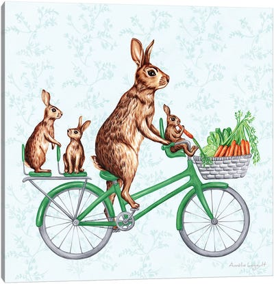 Rabbits On Bike Canvas Art Print