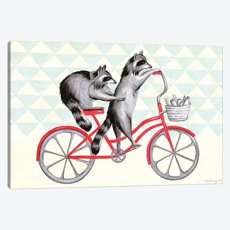 Raccoons On Bike Canvas Print #LGL32} by Amélie Legault Canvas Artwork