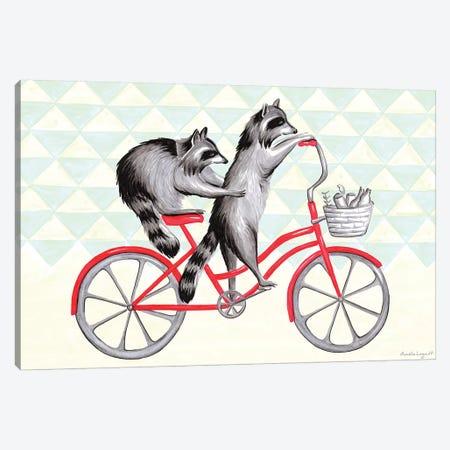 Raccoons On Bike Canvas Print #LGL32} by Amélie Legault Canvas Artwork