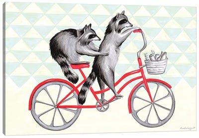 Raccoons On Bike Canvas Art Print
