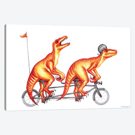 Raptors On Bike Canvas Print #LGL33} by Amélie Legault Canvas Artwork