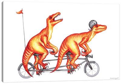 Raptors On Bike Canvas Art Print