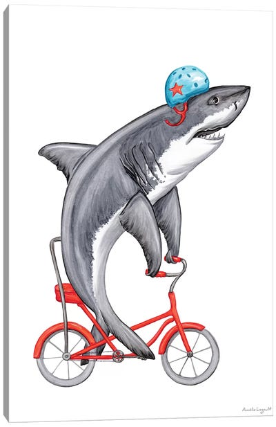 Shark On Bike Canvas Art Print