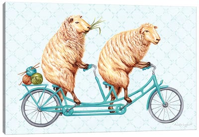 Sheeps On Bike Canvas Art Print