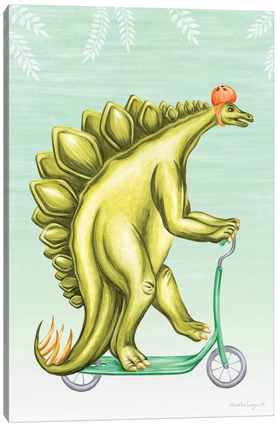 Stegosaurus On Scooter Canvas Art Print
