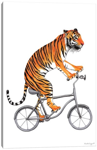 Tiger On Bike Canvas Art Print