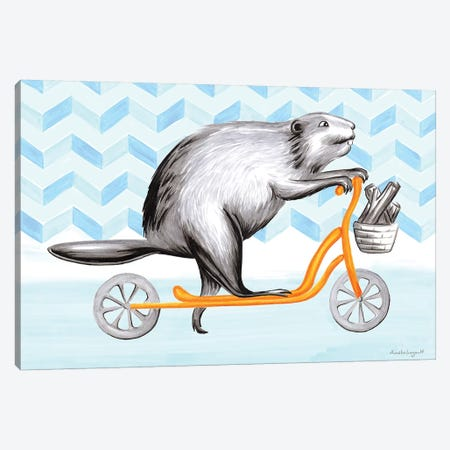 Beaver On Scooter Canvas Print #LGL3} by Amélie Legault Canvas Wall Art