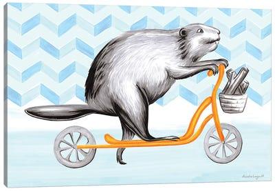 Beaver On Scooter Canvas Art Print