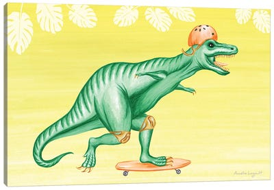 T-Rex On Skateboard Canvas Art Print