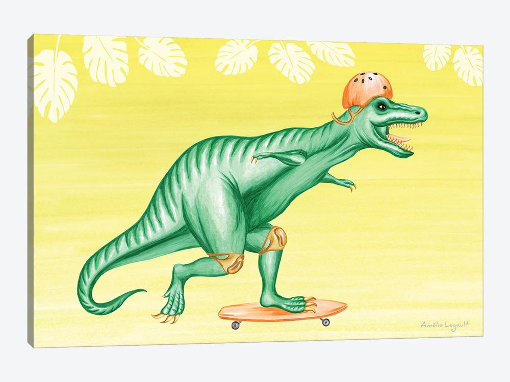 T-Rex On Skateboard by Amélie Legault 1-piece Canvas Art