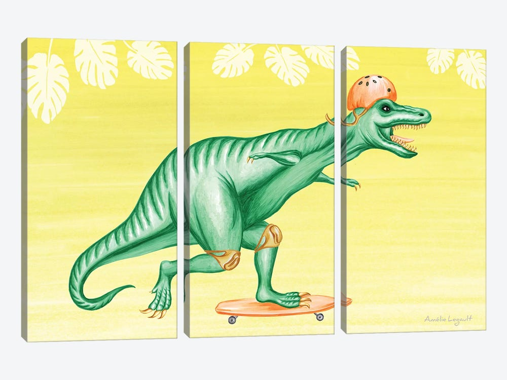 T-Rex On Skateboard by Amélie Legault 3-piece Canvas Artwork