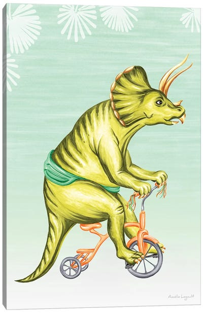 Triceratops On Bike Canvas Art Print