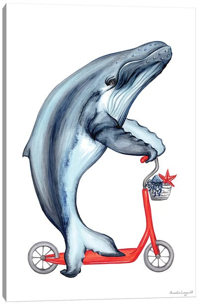 Whale On Bike Canvas Art Print