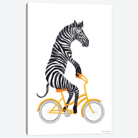 Zebra On Bike Canvas Print #LGL46} by Amélie Legault Canvas Artwork
